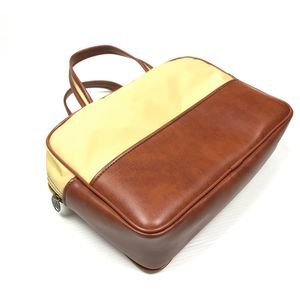 VTG Airway 2 Tone Cognac Vinyl Top Handle Bag